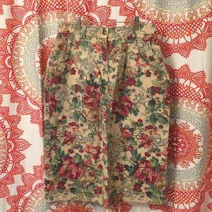 Vintage Central Falls 10 Floral Skirt 80's 90's